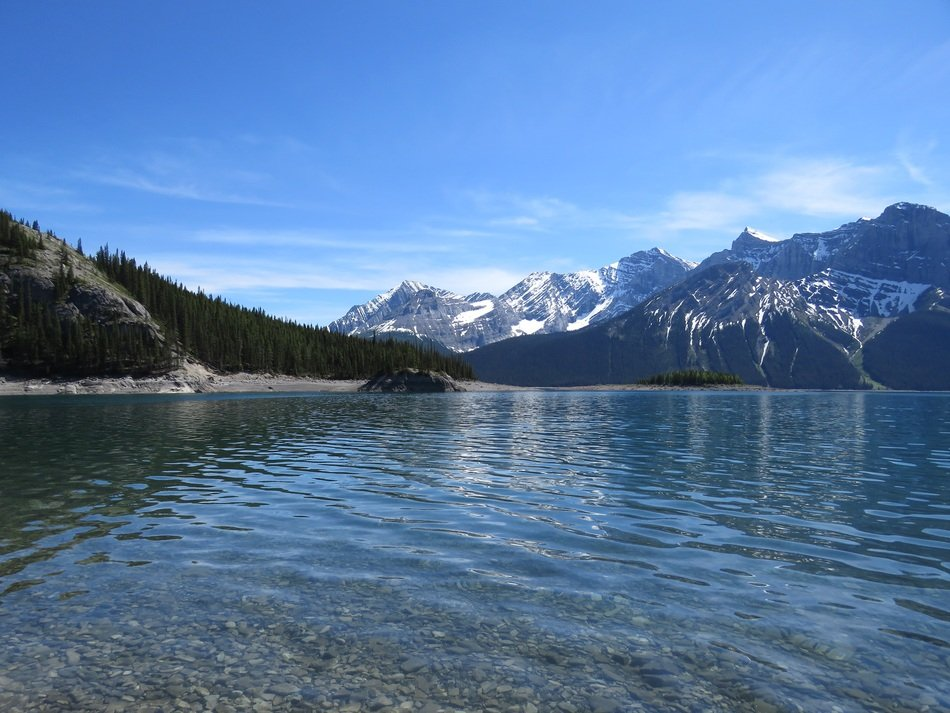 scenic upper kananaskis lake and rocky mountains