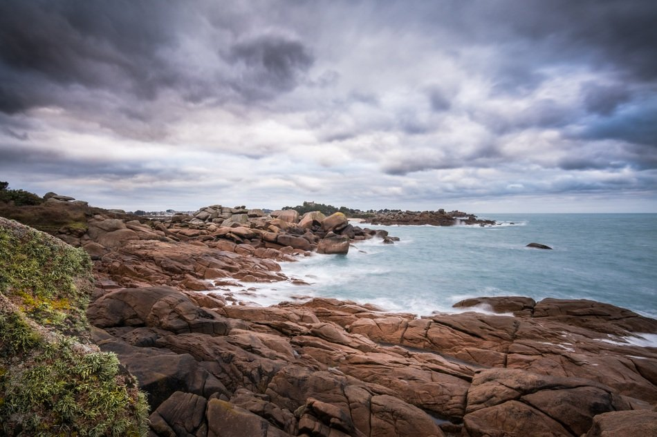 Landscape of rocky beach in Brittany