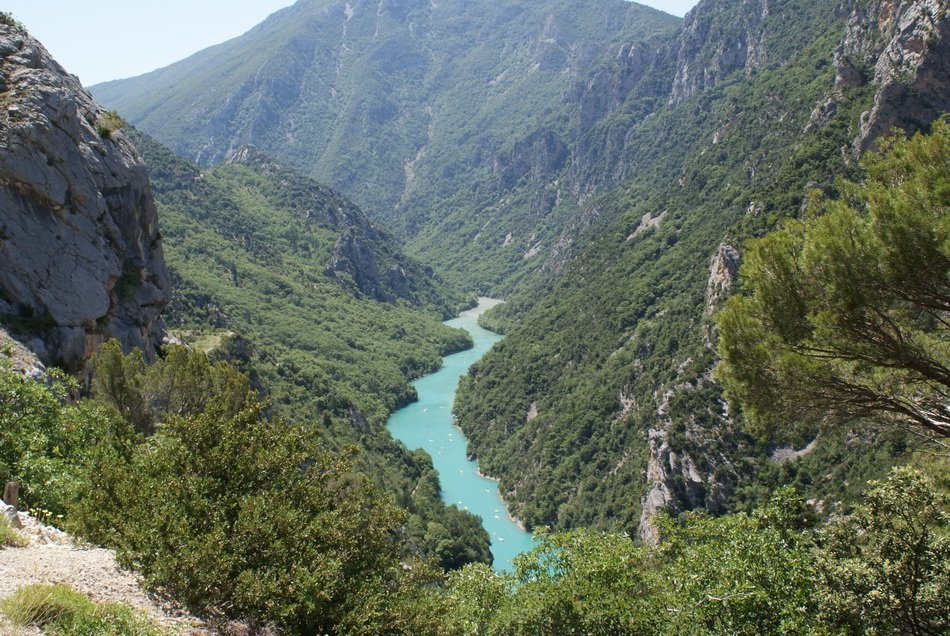 river in scenic mountains, france, Verdon Gorge
