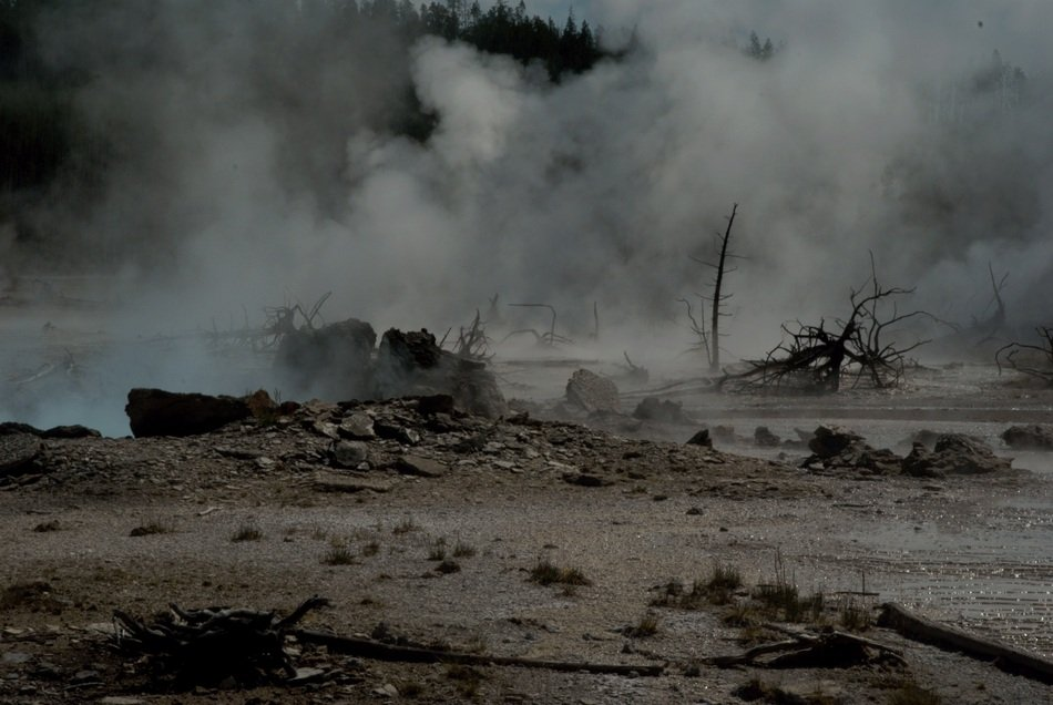 Yellowstone foggy Hot Springs Landscape