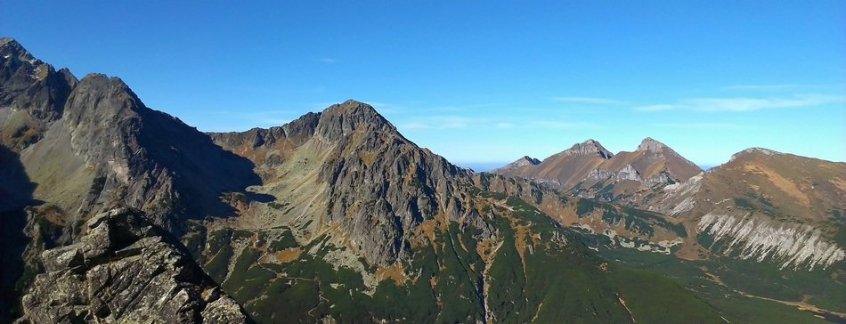 Panorama of the high Tatras in Slovakia on a sunny day