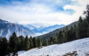 panorama of a snowy mountain range
