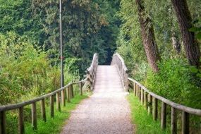 long wooden foot bridge in the forest