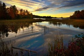 panorama of sunset over a lake in Quebec Canada