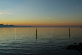 Sunset on Lake Constance in the evening