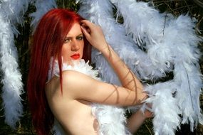 long haired Girl in white Feather