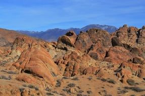 red rocky desert in Alabama Hills state park, usa, california