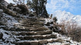 steps on a slope in the snow