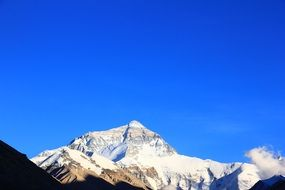 distant view of snowy everest on a sunny day