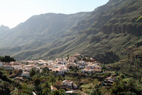 distant view of a village on the sunny island of Gran Canaria