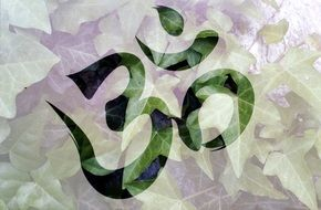buddhist sign on a green plant background