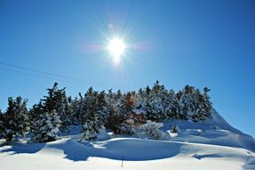bright sun over a snowy landscape
