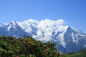Chamonix on a background of white mountains in France