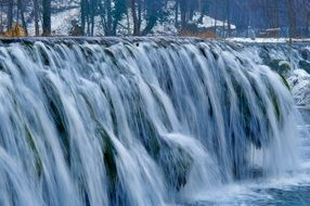 cascade waterfall in a cold winter