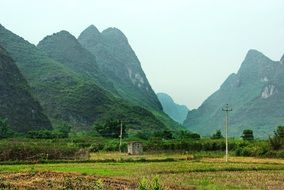 panoramic view of the countryside in the yangshuo region in the south of china