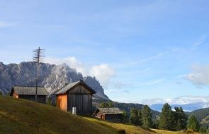 Landscape of Mountain Hut on a Dolomites