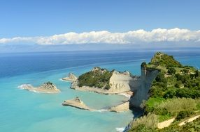 panorama of the rocky coast of corfu