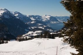 Switzerland mountains skiing resort
