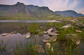Lake Snowdonia and mountains in Scenic evening landscape, uk, Wales