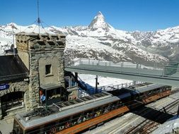 train station in view of Matterhorn mountain, Switzerland