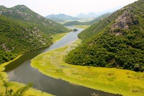 panorama of the river in the picturesque valley of montenegro