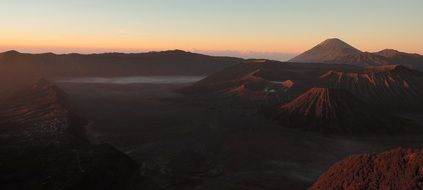 panoramic view of the volcano bromo at sunset