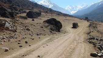 desert path in Nepal Mountains