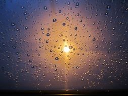 golden rain on glass