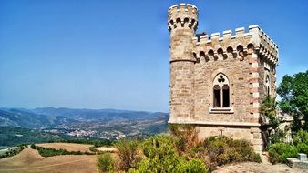 medieval tower on a hill