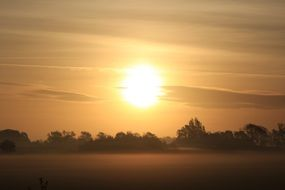 morning sun over the countryside