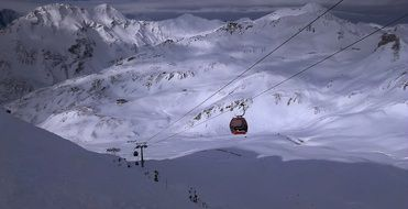 cable car for skiers at a ski resort in the Alps