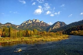 Autumn Trees Mountain river Panorama
