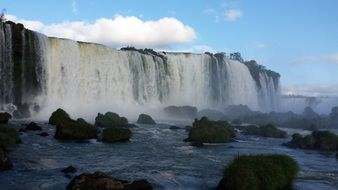 Iguazu Falls are located on the border of Brazil and Argentina