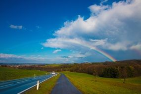 bright Rainbow in rural Landscape, austria