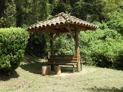 wooden arbor in the park