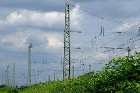 landscape of electric wires over the railway