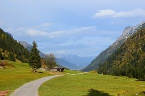 country road along the high mountains in Tyrol