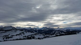 Panoramic landscape of the snowy mountains