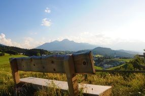 wooden bench view Idyll Mountains Valley