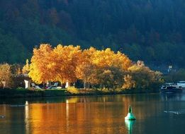colors of autumn are reflected in a picturesque lake