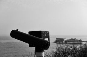 observation binoculars on shore