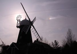 the retro silhouette of the windmill