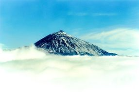 Teide volcano in thick clouds