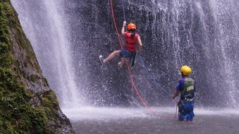 extreme sport at the waterfall