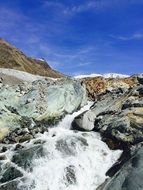glacier stream in the mountains of switzerland