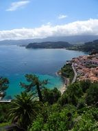 top view of village on beautiful coastline, Spain, Asturias