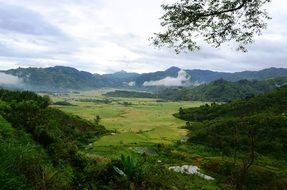 panoramic view of a green valley at the foot of the mountains