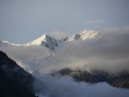 Snow on the mountains in South Tyrol