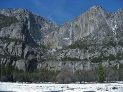 Yosemite Waterfall Snow Snowmelt