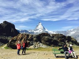 people on the observation deck to the top of the Matterhorn